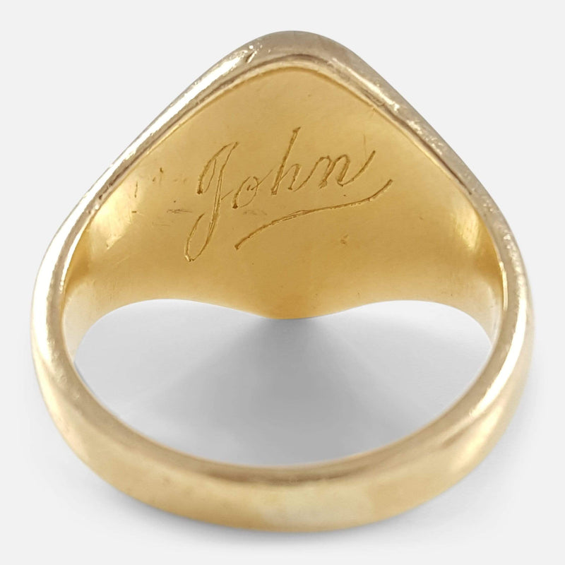 18ct Yellow Gold Intaglio Signet Seal Ring viewed from the back