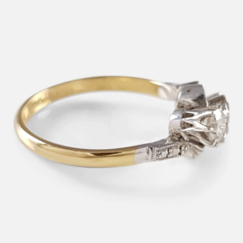 18ct Gold and Platinum 0.60ct Diamond Trilogy Crossover Ring - Argentum Antiques & Collectables