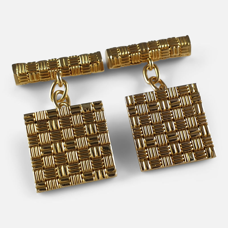 1960s 18ct Gold Square Cufflinks viewed from the front