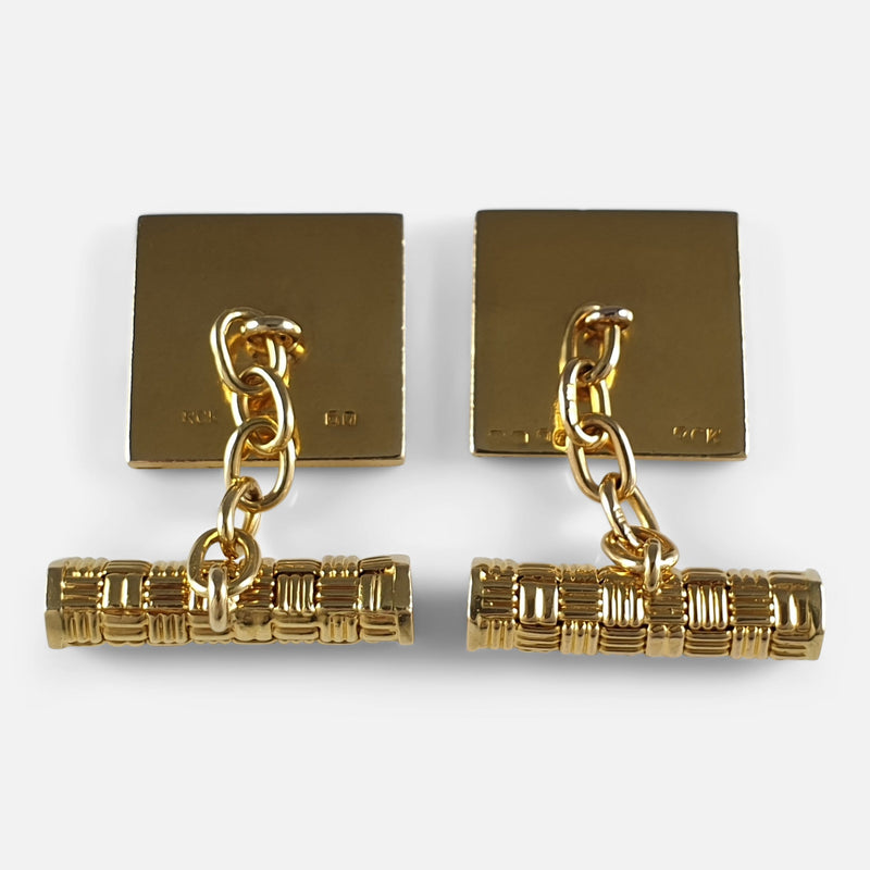 the cufflinks viewed from the back