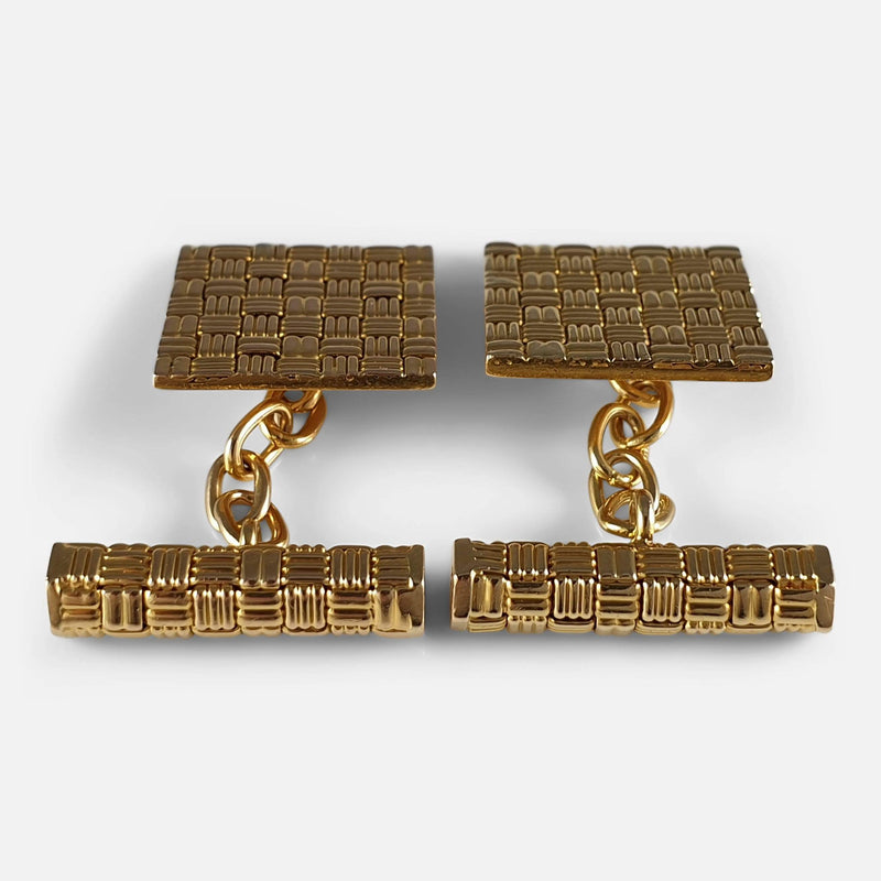 18ct Yellow Gold Square Panel Chain Link Cufflinks, London, 1960s viewed from the back