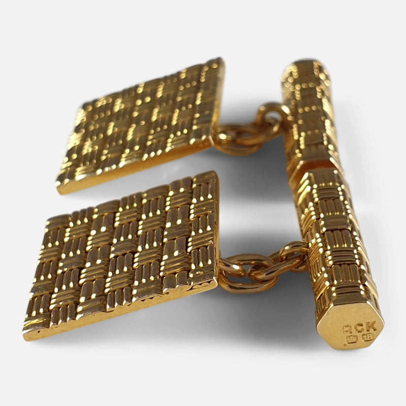 18ct Yellow Gold Square Panel Chain Link Cufflinks, London, 1960s viewed from the right