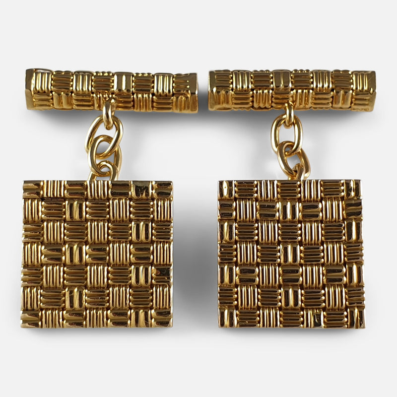 18ct Yellow Gold Square Panel Chain Link Cufflinks, London, 1960s viewed from above
