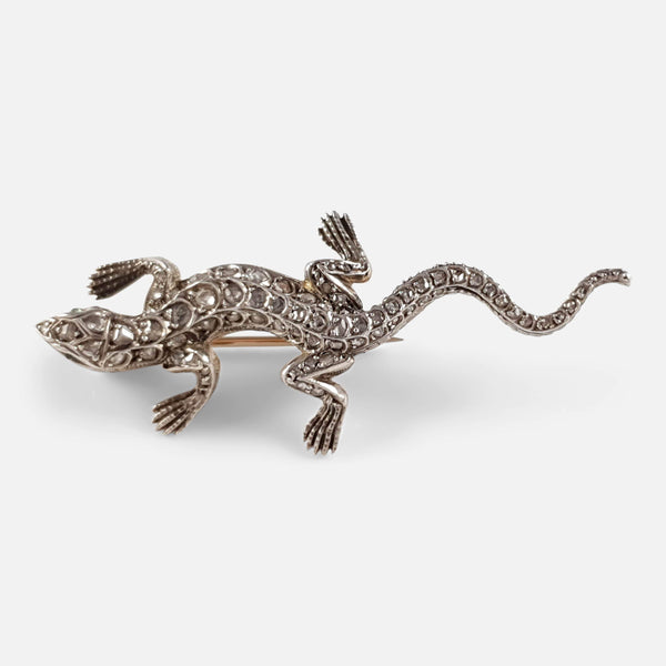 Diamond and Emerald Lizard Brooch, Circa 1895 - Argentum Antiques & Collectables