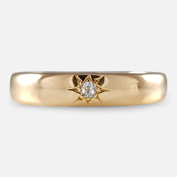 22ct gold wedding band with diamond viewed from the front