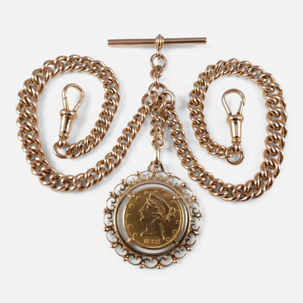 9ct Yellow Gold Double Albert Watch Chain and 1881 $5 Gold Coin - Argentum Antiques & Collectables
