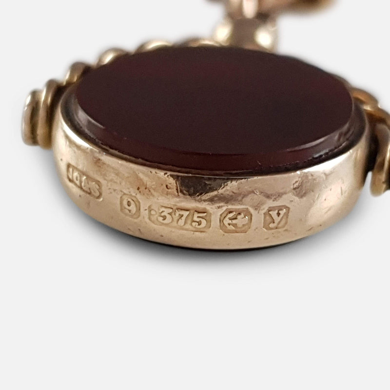 9ct Gold Double Albert Watch Chain with Bloodstone & Carnelian Fob - Argentum Antiques & Collectables