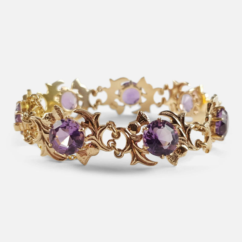 9ct Yellow Gold & Faceted Amethyst Thistle Shaped Link Bracelet - Argentum Antiques & Collectables
