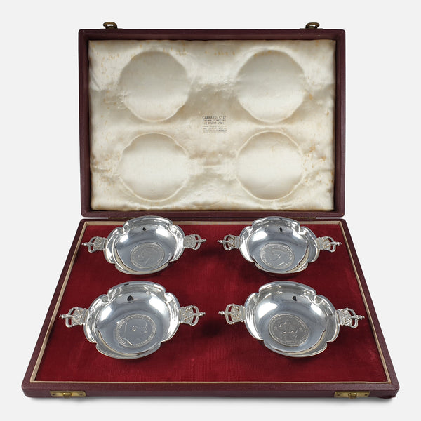 Cased Set of 4 Silver Coronation Dishes, R.E. Stone, viewed in the case