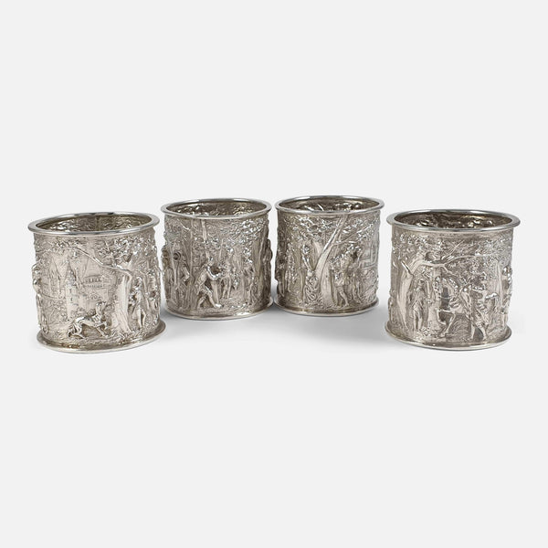 A Cased Set of 4 Victorian Silver Country Pursuits Napkin Rings 1898 - Argentum Antiques & Collectables