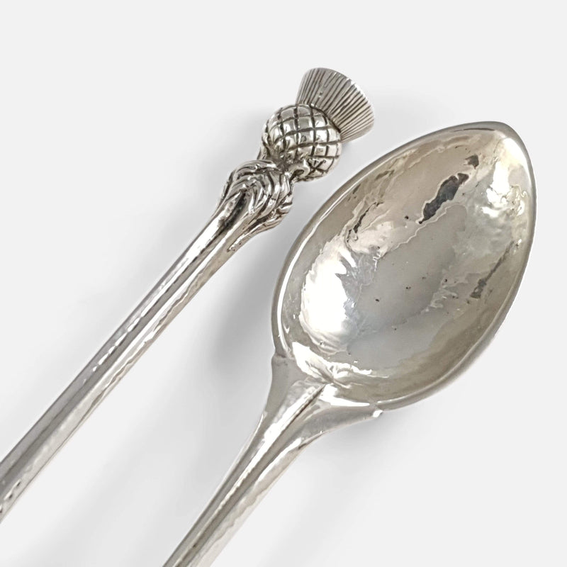 A Pair Of Omar Ramsden Arts & Crafts Sterling Silver Spoons - Argentum Antiques & Collectables