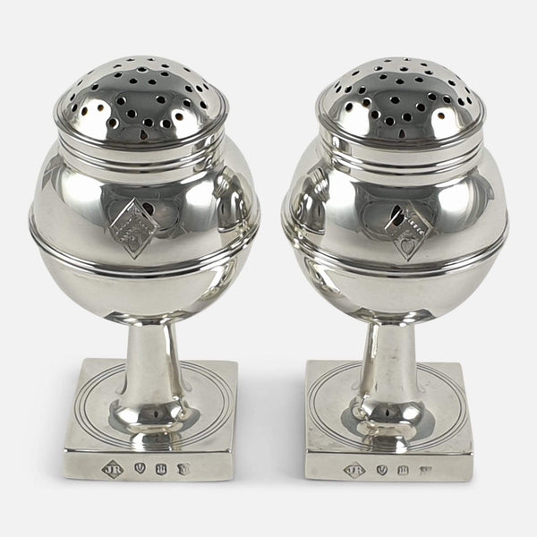 A Pair of Scottish Sterling Silver Pepper Casters, James Ramsay, 1929 viewed from the front
