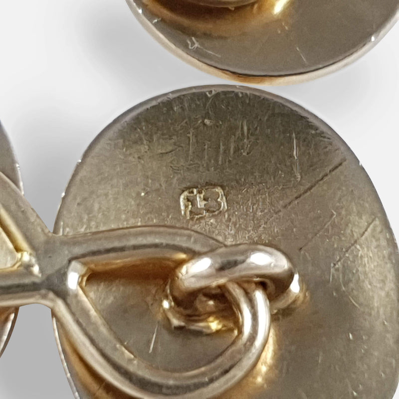 18ct Yellow Gold Oval Cufflinks - Argentum Antiques & Collectables
