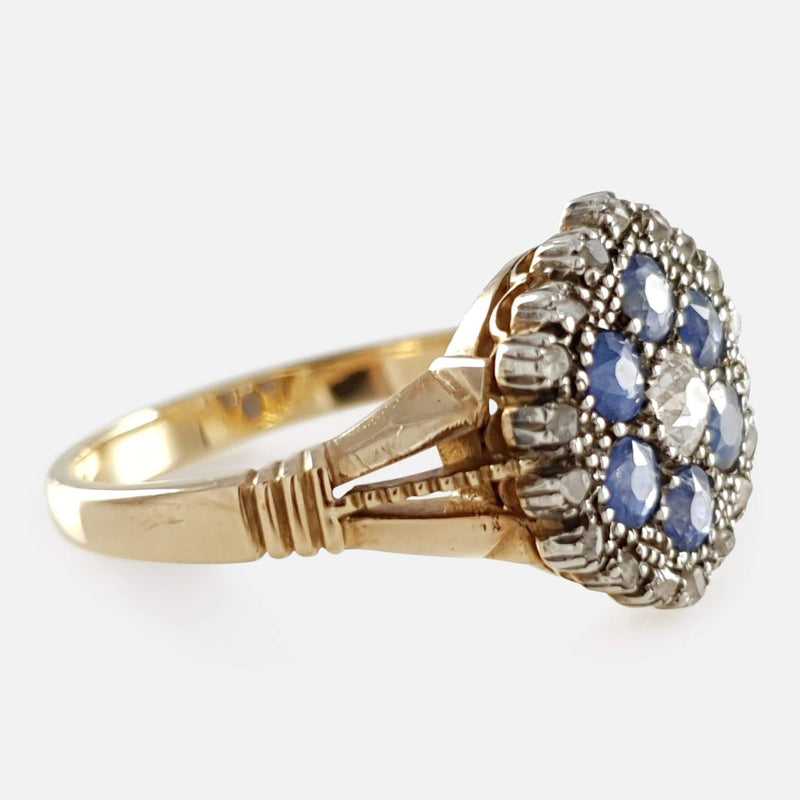 18ct Gold Diamond and Sapphire Cluster Ring - Argentum Antiques & Collectables