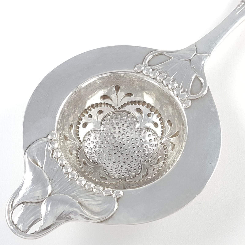 Danish Skønvirke Silver Spot Beaten Tea Strainer Evald Nielsen - Argentum Antiques & Collectables
