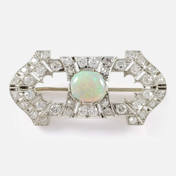 Art Deco Opal and Diamond Platinum Brooch - Argentum Antiques & Collectables