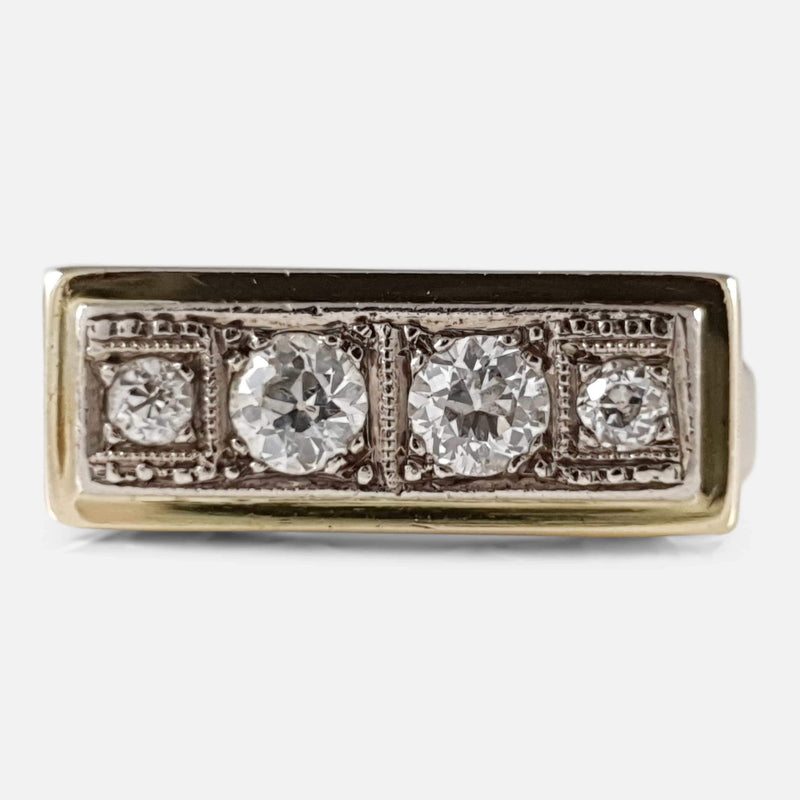 Art Deco 14ct Gold 0.50ct Diamond Panel Ring - Argentum Antiques & Collectables