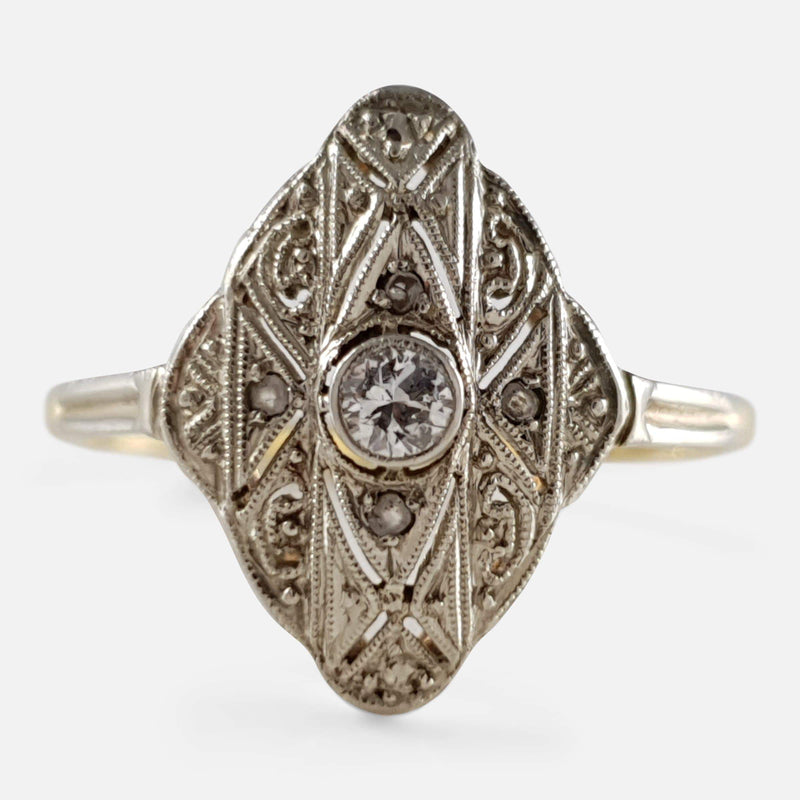Art Deco 14ct Gold Diamond Navette Marquise Ring - Argentum Antiques & Collectables