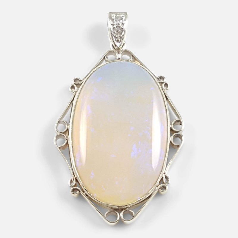Art Deco 14ct Gold Opal & Diamond Pendant - Argentum Antiques & Collectables
