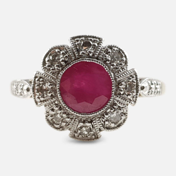 Art Deco 18ct Gold and Platinum Ruby and Diamond Cluster Ring - Argentum Antiques & Collectables