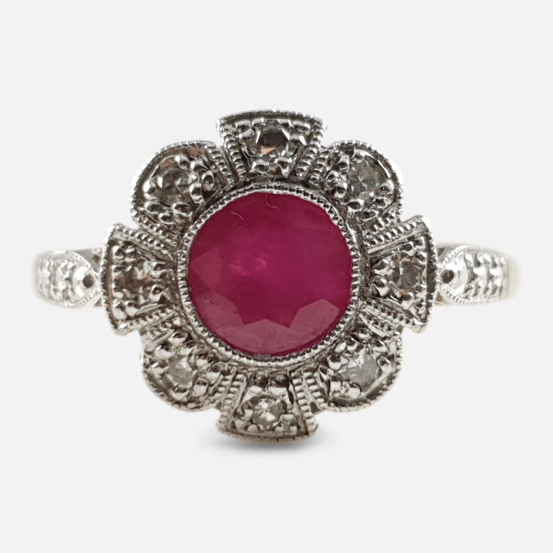 Art Deco Ruby and Diamond Ring viewed from the front