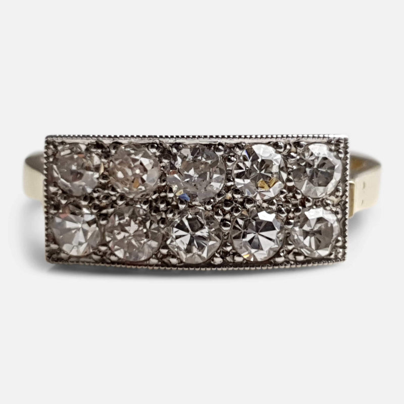Art Deco 18ct Gold and Platinum 0.75ct Diamond Cluster Ring - Argentum Antiques & Collectables