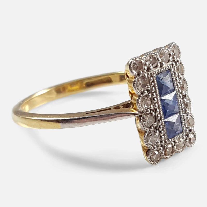 Art Deco 18ct Gold, Platinum, Sapphire, and Diamond Ring - Argentum Antiques & Collectables