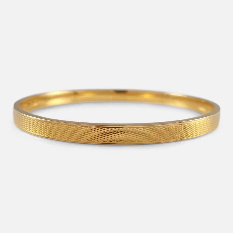 Art Deco 15ct Gold Bangle resting flat