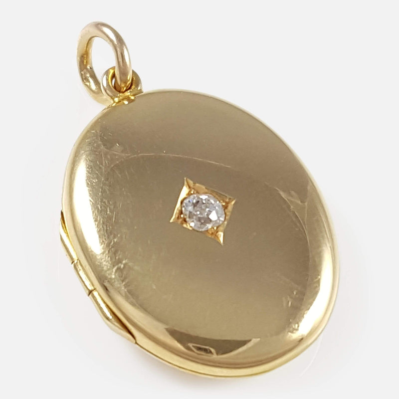 George V 18ct Gold Diamond Locket Pendant - Argentum Antiques & Collectables