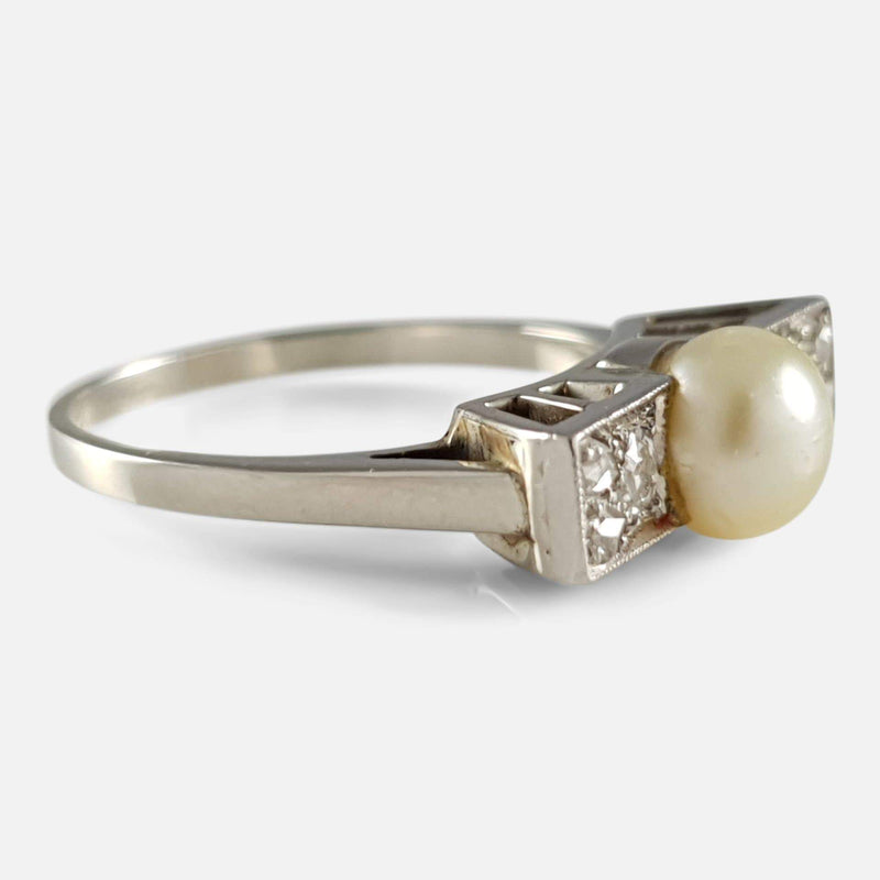 Art Deco 9ct White Gold Pearl and Diamond Ring - Argentum Antiques & Collectables