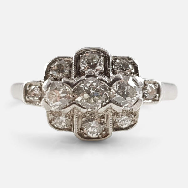 Art Deco Platinum Diamond Cluster Ring - Argentum Antiques & Collectables