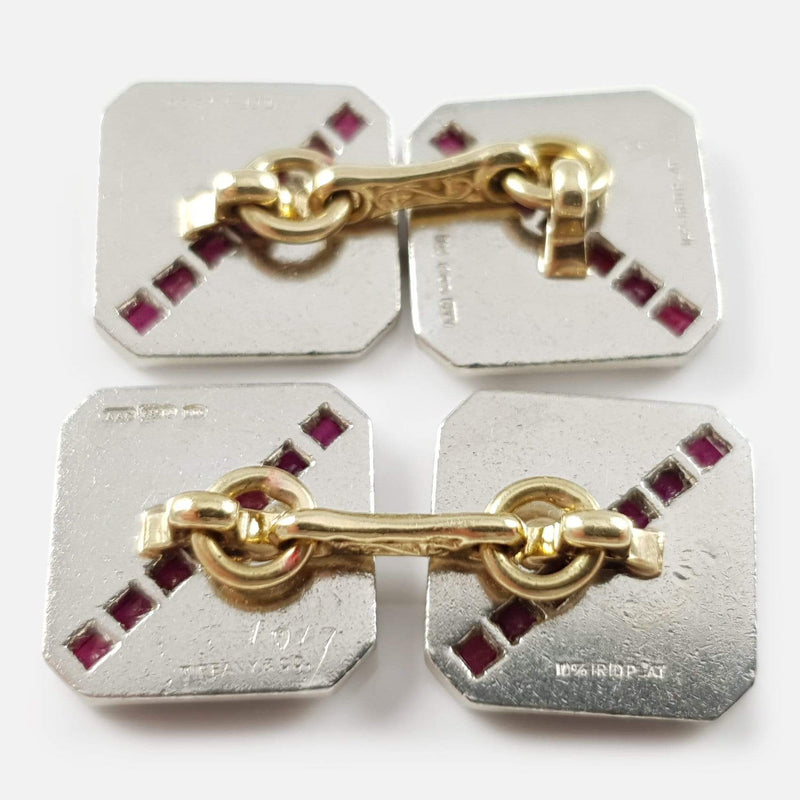 Art Deco Tiffany & Co 14ct and Platinum Ruby Cufflinks - Argentum Antiques & Collectables
