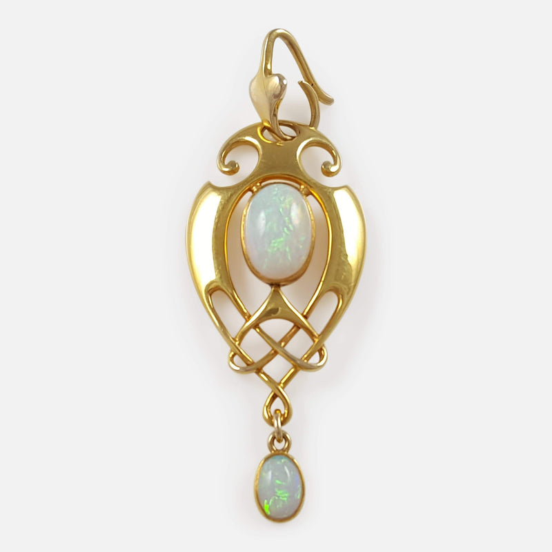 Art Nouveau 15ct Gold and Opal Pendant Murrle Bennett & Co - Argentum Antiques & Collectables