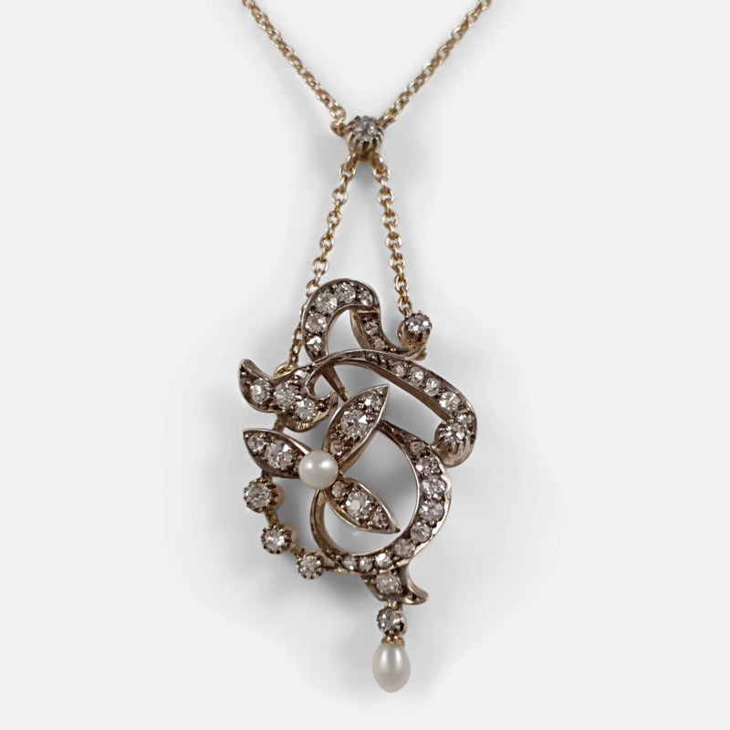 Art Nouveau diamond and pearl pendant necklace viewed from the front