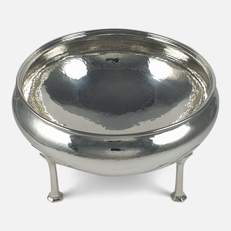 Arts and Crafts Sterling Silver Bowl, A. E. Jones, Birmingham, 1912 viewed from above