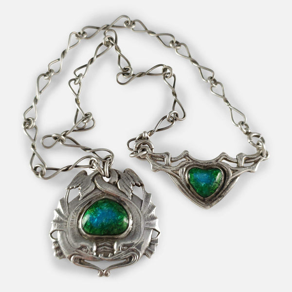 Arts and Crafts Silver and Enamel Necklace by Ramsden & Carr - Argentum Antiques & Collectables