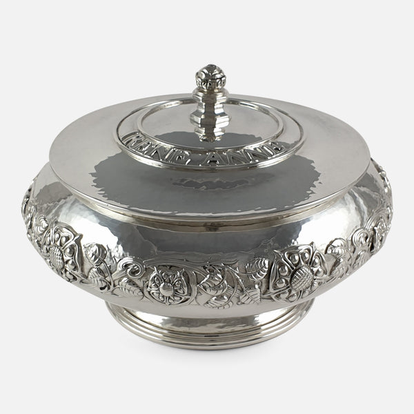 Arts & Crafts Sterling Silver Bowl and Cover, Omar Ramsden, London, 1934