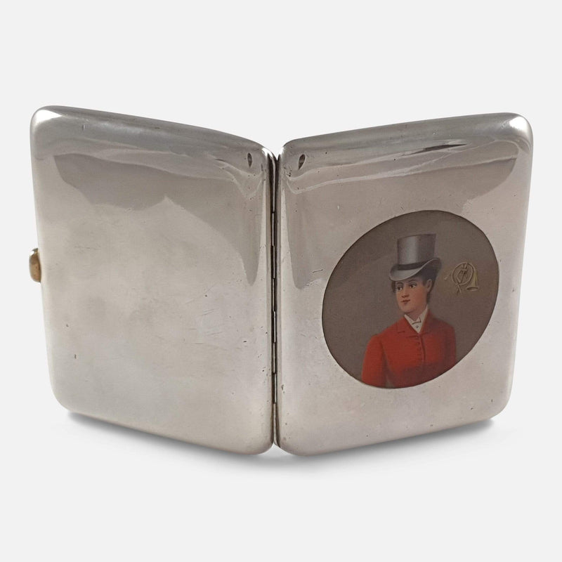 Austrian Silver & Enamel Hunting Cigarette Cheroot Case - Argentum Antiques & Collectables