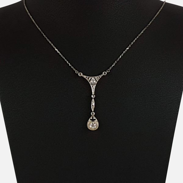 Belle Epoque White Gold and Diamond Pendant Necklace - Argentum Antiques & Collectables