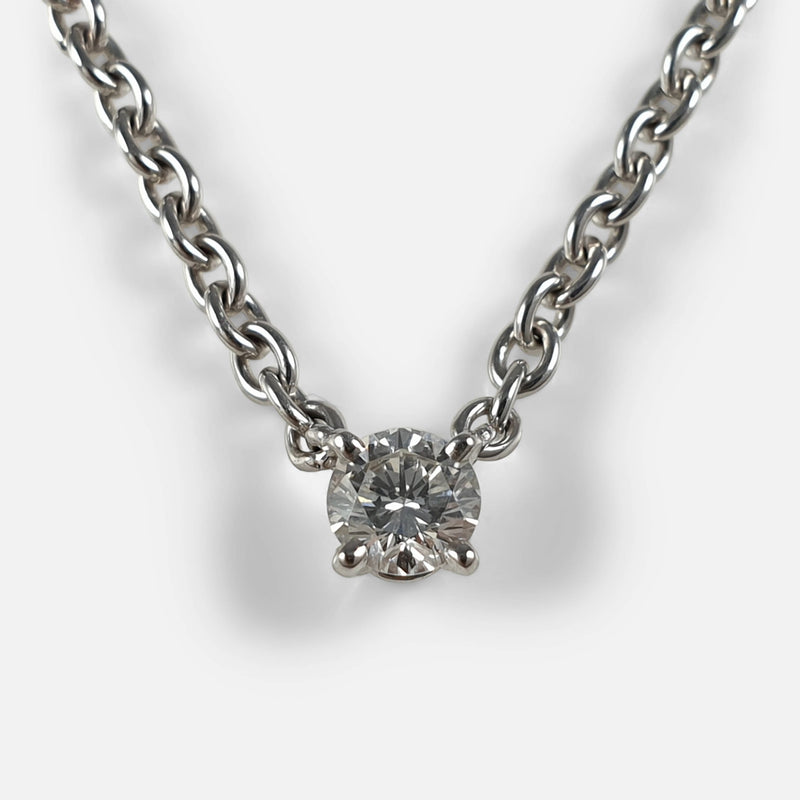 Cartier 1895 Diamond Solitaire Necklace zoomed in on a section