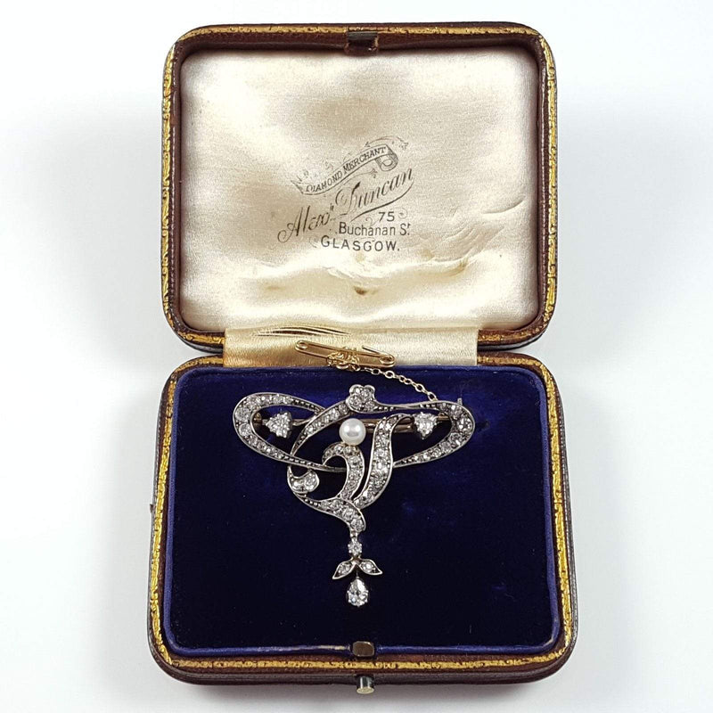 Art Nouveau Silver, Gold, Diamond, & Pearl Brooch - Argentum Antiques & Collectables