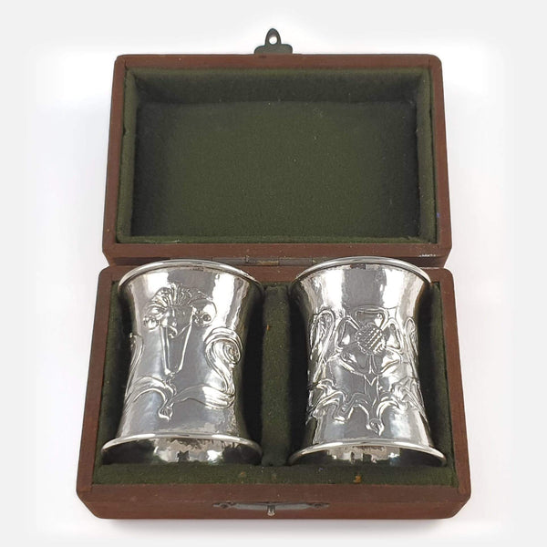 the Arts and Crafts silver napkin rings in their case