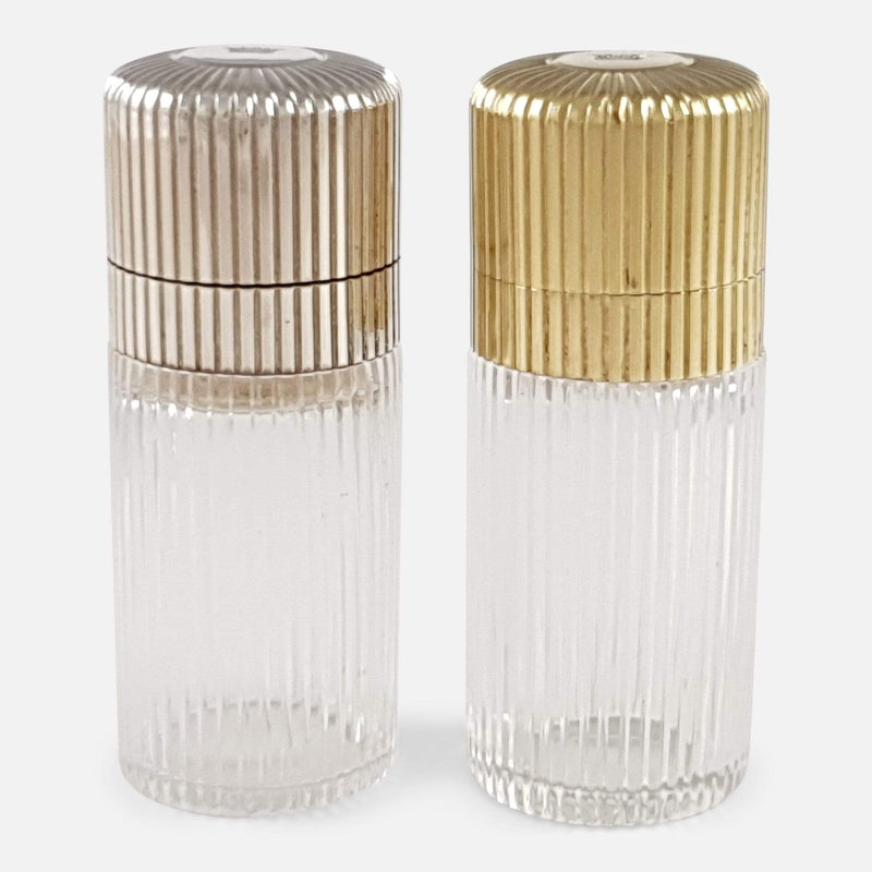 Cased Pair of Sampson Mordan Silver & Glass Perfume Scent Bottles - Argentum Antiques & Collectables
