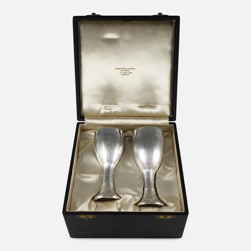 The 1970s sterling silver court cups in their case