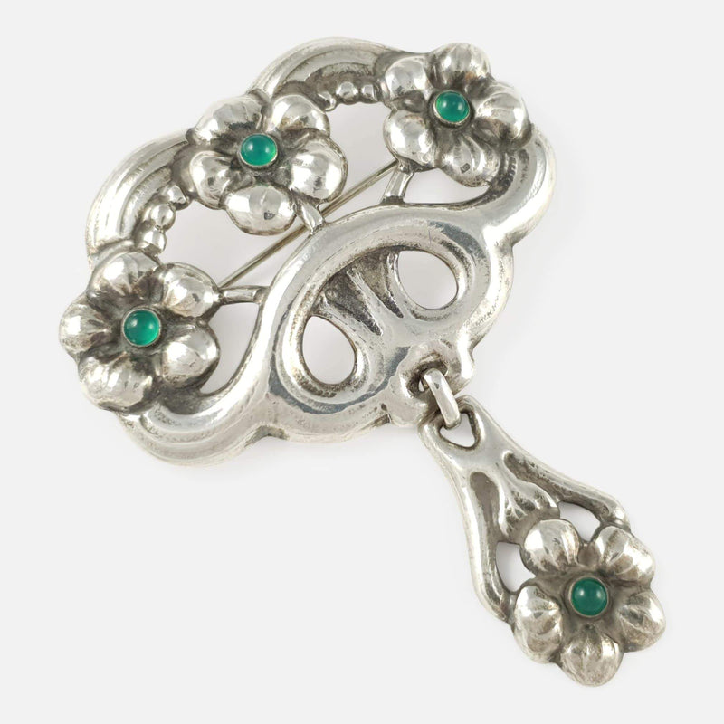 Danish Skønvirke Silver and Chrysoprase Brooch William Fuglede - Argentum Antiques & Collectables
