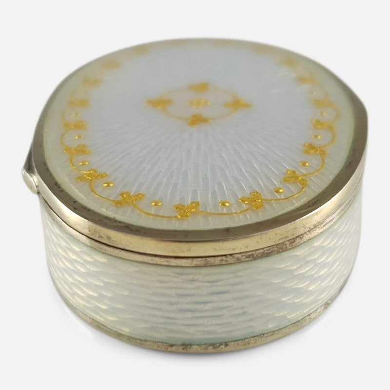 David Andersen Silver Gilt Guilloche Enamel Pill Box - Argentum Antiques & Collectables