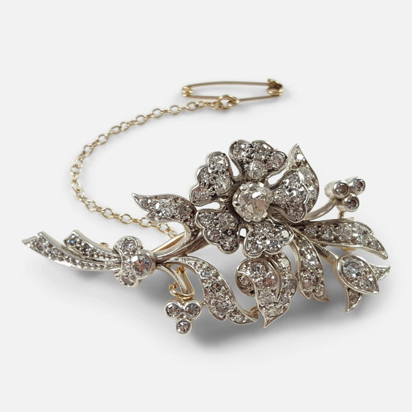 9ct Gold, Silver and 2.36 Carat Diamond Foliate Brooch - Argentum Antiques & Collectables