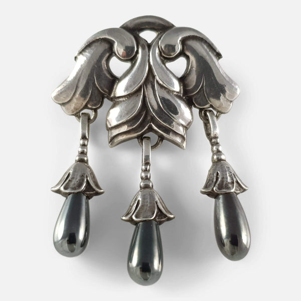 the Georg Jensen silver Hematite drop brooch viewed from the front