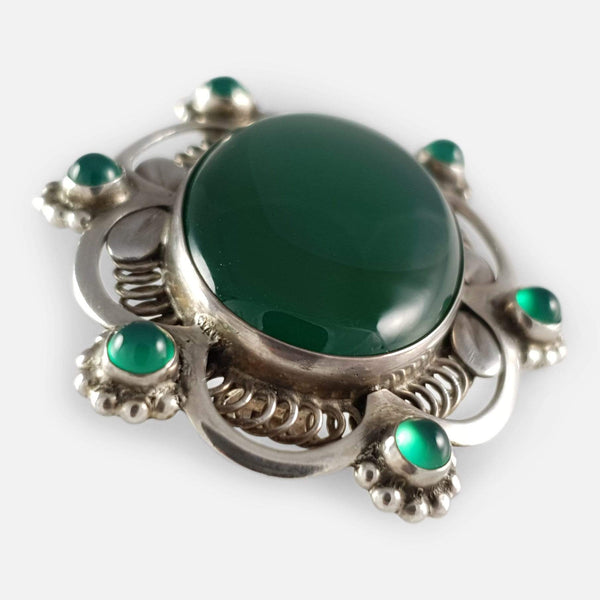 Georg Jensen Silver Green Agate Brooch #157, Circa 1915-1930 - Argentum Antiques & Collectables