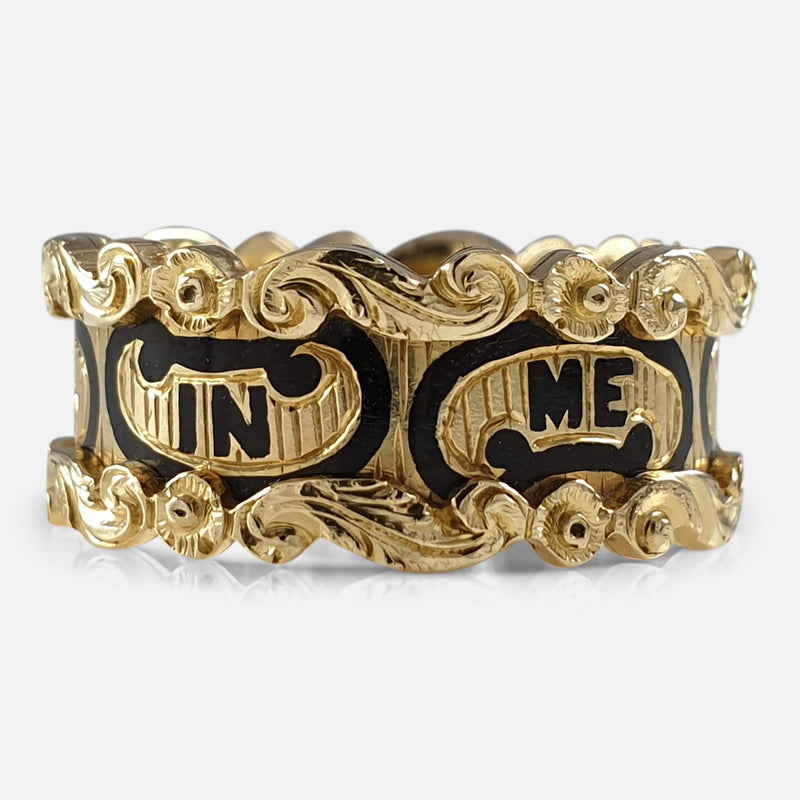 Victorian 18ct Gold and Enamel Memorial Mourning Ring, 1845 view of the outer inscription
